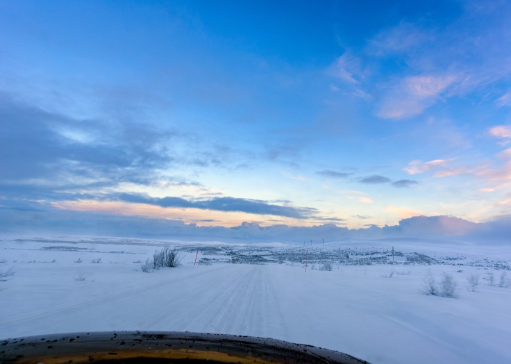 Ice Road in the extreme North from inside the car